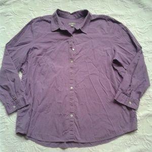 J Jill Shirt Button Down Purple Long Sleeves XL
